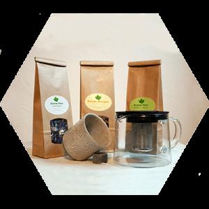 Geschenkpakket met thee, theetas en theepot