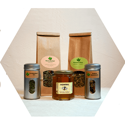 Geschenkpakket met honing, keukenkruiden en kruidenthee